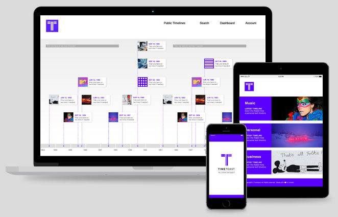 Timeline maker that works on desktop, mobile and tablet devices.